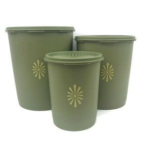 Vintage Tupperware Avocado Green Canister Set 3
